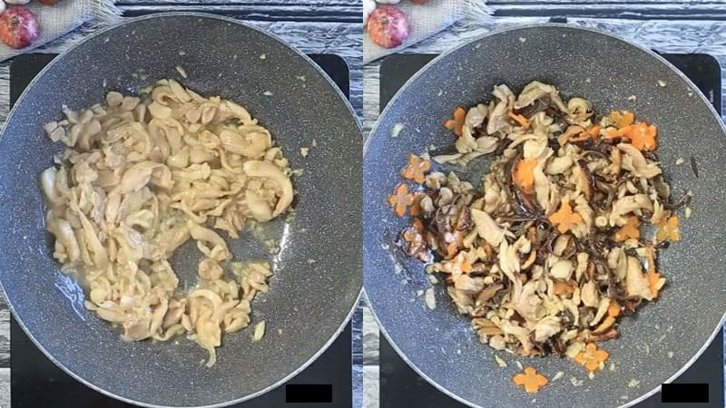 gà xào nấm hương mộc nhĩ