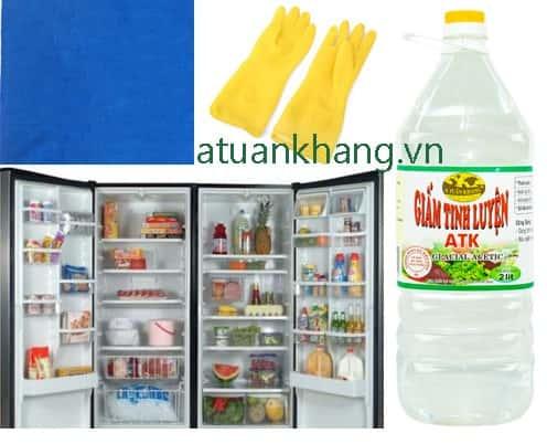 Nguyên liệu vệ sinh tủ lạnh với giấm