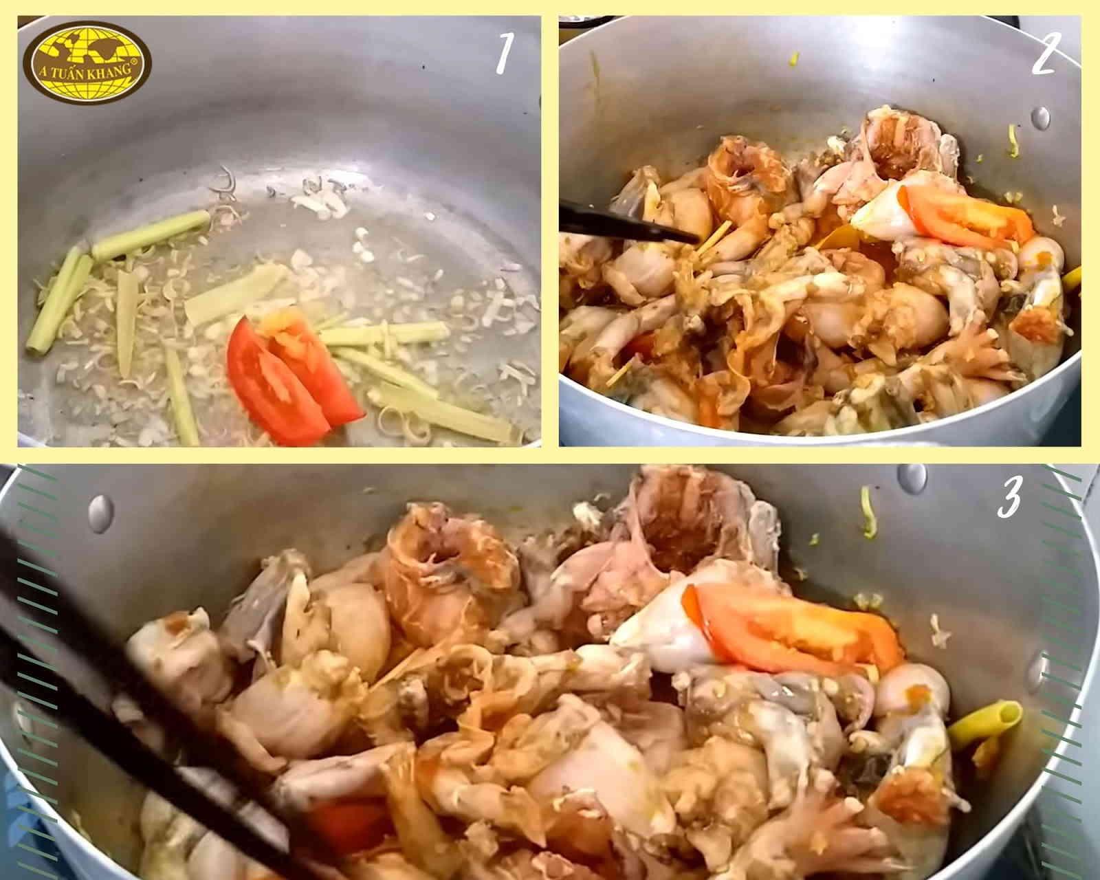 hướng dẫn cách nấu ếch sa tế thơm ngon
