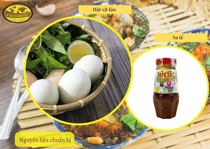 nguyên liệu trứng vịt lộn xào sa tế - A TUẤN KHANG