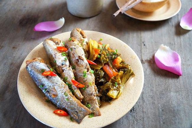 Thành phẩm kho cá dưa cải