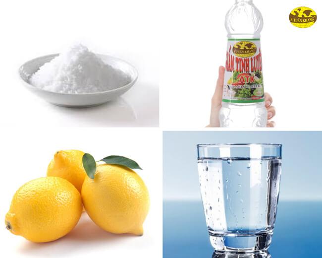 Nước rửa chén giấm, muối, chanh