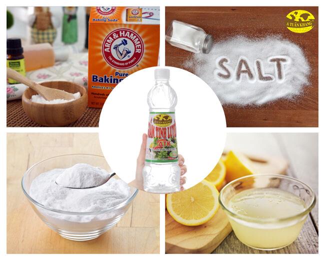 Nước rửa chén giấm, baking soda, muối, chanh