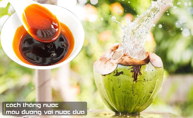 Cách thắng nước màu đường với nước dừa