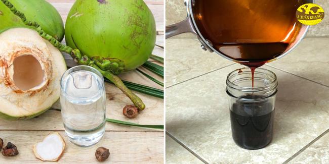 Cách thắng nước màu đường kết hợp nước dừa